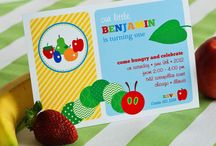 Very Hungry Caterpillar party inspiration / Throw an adorable Hungry Caterpillar party for your little one's first birthday! Use our customized cupcake toppers, drink wraps, invitations, party labels and banners to make the day extra special!