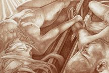 Vincent Castiglia, Autopsies of The Soul / Vincent Castiglia is an Artist intently focused on the human condition. Castiglia's work viscerally meditates on the various intersections of body and mind. He creates using a mixture of blood and water; a simple yet emotive material when applied to paper.