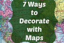 Map craft and decor / Crafty and decorative things to do with maps