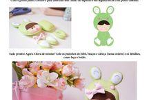 moldes de bebês de feltro vestidas de animais