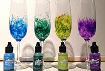 ink decorated wine glasses