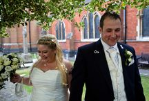 Claire & Simon Wedding Photography / This wedding photography pin includes the bride & groom marrying in the church, table decorations, fabulous wedding dress & dresses flowers with centrepieces, hairstyle, bride & groom getting married and cutting the wedding cake.