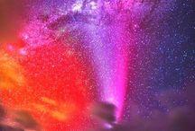 Северное сияние, звездное небо