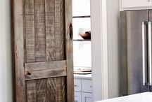 Rustic Sliding Barn Doors / Sliding barn doors built out of solid hardwoods and custom designs. Adds a fun dynamic to a room entrance, closet or pantry- sliding barn doors are the perfect accent piece to any room!
