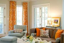Orange Accents Living Roo / by Hilary Morris