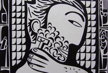 Estampe / Печатная графика - линогравюры, ксилографии, офорты, монотипии.