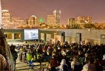 Top Down at deLuxe: Rooftop Cinema / Located on the roof of Hotel deLuxe's parking structure, Hotel deLuxe puts cinema under the stars with their summer Top Down Film series.