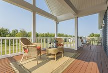 Comfy Decks and Porches / Check out the so many different ways you can customize your gorgeous modular home, by being creative with your decks and porches.  Make them inviting comfy.