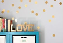 Gold decal glitter wall