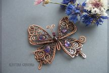 Wire and bead butterflies
