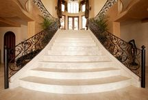 Steps and Staircases / Beautiful custom stair treads, risers and balustrades carved from Authentic Durango Stone.