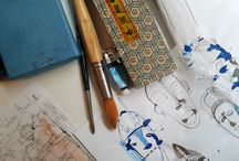 Watercolor, I love you! / I was looking art my desk, watercolor, sketches, paintings, illustrations...My studio!