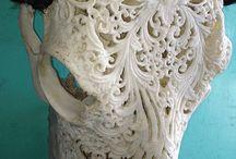 Skull hand-carved