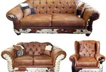 Texas Rustic Living Room Furniture with Cowhide
