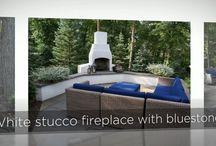 Landscape Slide Shows / Stonepocket backyard landscape with stucco fireplace