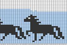 patronen paarden / Borduren, filethaken of schaduwbreien paarden