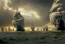 Armada and old galleons of days of yore. / The spanish Armada defeated in 1588. Also old wooden galleons.