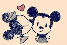 drawing Minnie and Micky mouse