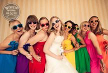 Rainbow theme wedding / Rainbow theme wedding, rainbow sunglasses, rainbow wedding party, multicolor bridesmaid dresses, rainbow wedding cupcakes, multi color wedding tables, rainbow wedding table cloths