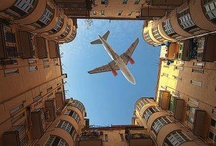 Looking up in wonder / Airplane fanatic