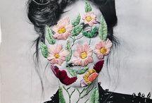 rosto bordado de flores