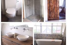 Sanitair, badkamer, toilet, bad, badmeubel, waskom, inbouwkraan, houten schuifdeur / Badkamer