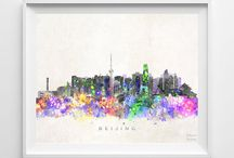 Beautiful Watercolor Skyline / Beautiful Watercolor Skyline