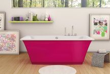 Color Your World by MAAX / Enjoy our most #colorful #bathtub, freestanding bathtub transform your #bathroom to Loft style. #Inspirational