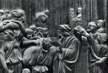 Лоренцо Гиберти. / В мастерской Гиберти обучались и работали  скульпторы Донателло и Микелоццо, живописец Паоло Уччелло и др.  В 1445 г. Гиберти  приступил к работе над «Комментариями».  Первый «Комментарий», посвящен истории античного искусства. Третий является одним из первых сочинений, связанных с изобразительными искусствами, в которых сообщаются сведения о теории перспективы. Исключительное значение имеет второй «Комментарий», написанный в 1447—1448 гг. и посвященный истории итальянского искусства.