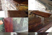 madeira rustica / madeira imbuia com aplicação de resina