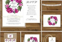 Zaproszenia ślubne z peoniami fuksja / Zaproszenia i dodatki ślubne w stylu rustykalnym z peoniami. Piwonie w kolorze fuksji.