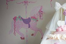 CAROUSEL HORSE - Babies nursery / This soft pink carousel horse was painted in the nursery of a 3 month old baby girl. Her name was included into the mural. A selection of jewels, studs and glitter were added after the painting for a sparkle effect.