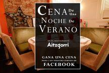 Sorteos y promociones del Restaurante Aitzgorri de San Sebastián-Donostia / En este tablero te mostraremos las diferentes promociones del Aitzgorri y los sorteos que lanzamos continuamente en facebook para nuestros fans. Síguenos en las redes sociales para participar y ganar comidas gratis en el Restaurante Aitzgorri.