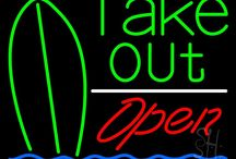 Take Out/Take Away Open Neon Signs