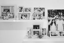 monochrome photo wall decor