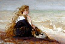 Γυναίκες στην παραλία. Πίνακες ζωγραφικής / Πίνακες ζωγραφικής με γυναίκες στην παραλία, να ρεμβάζουν, να κάνουν περίπατο, ηλιοθεραπεία, μπάνιο...