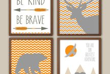 Nursery Moodboard - Orange & Grey