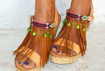 Cork wedged heel sandals