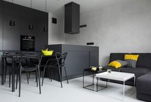 chic black apartment / I found this apartment on HomeDSGN (one of my favourite home sites!). I am inspired to look at products that fit with this stunning home as inspiration. Enjoy!   Concrete Concept by Kasia Orwat (5)Concrete Concept was designed by Kasia Orwat. It is located in Poznań, Poland, and makes use of a two-color palette to focus the design on contrast.  <http://www.homedsgn.com/2014/07/02/concrete-concept-by-kasia-orwat/>