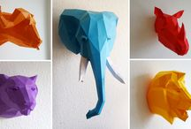 cabeças animais 3D origami