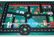 Manualidades: Tapiz de ciudad en fieltro / Recopilatorio de ideas para hacer un tapiz de ciudad en fieltro.