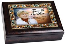 Keepsake and Memory Boxes / Quality personalized photo memory and keepsake music boxes in a beautiful mahogany finish wood with velvet inside lining perfect for bereavement. Photo is interchangeable.