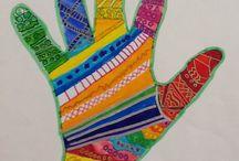Creatief met kleur / Hand met stiften
