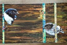 my paintings / Me playing on canvas with acrylic paint and gold leaf