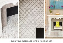 Fabulous Fireplaces / Stone tile and mosaics for fireplace surrounds