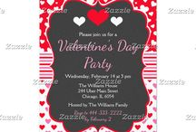 Chalkboard Pink and Red Hearts Valentine's Party / This collection features a red and white heart on a chalkboard frame. The background consists of white hearts on red, pink and red hearts and a pink and red stripe ribbon.