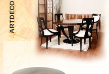 Artdeco Series of Decorus Furniture / Artdeco Series. Round Dining Table, Side Chair, Host Chair, Sideboard and Bookcase.