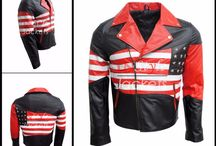 USA Flag Design Leather Jacket