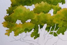 Trees / This board is all about trees, painted trees, drawn trees.