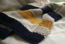 Navy mustard and cream baby blanket.